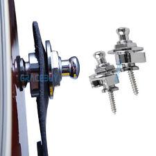 2Pcs Guitar Strap Locks Pair Silver Straplock Metal Round Button Schaller Style