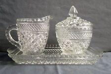 Creamer & Sugar Bowl w/ Tray Anchor Hocking Wexford Glass Diamond 4 pc Set