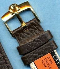 OMEGA GOLD FILL BUCKLE & GENUINE BROWN LEATHER CAVADINI STRAP BAND 18mm or 20mm