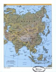 """18"""" x 24"""" 2003 Physical Map Of Asia & Countries Within"""