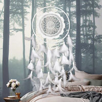 63cm Weiß Dreamcatcher Traumfänger Indianer Federn Träume Zuhause Dekor