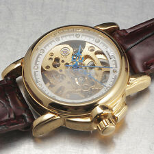 Women Lady See Through Leather Rhinestone Mechanical Automatic Sport Wrist Watch