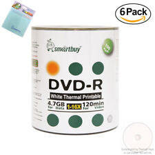 600 Smartbuy DVD-R White Thermal Printable 16X 4.7GB Disc FREE Micro Fiber Cloth