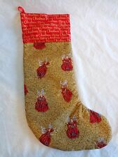 "Angel Christmas Stocking 17"" Red Gold Fabric Holiday Decor"