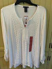RXB White Tunic Top Shirt 3/4 Roll Tab Sleeves Lace Accents Sz S, M, L, XL NWT
