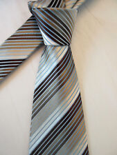 GEORGE PADDED BROWN BLUE STRIPED 3.25 INCH POLYESTER NECK TIE