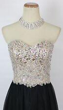 NEW $500 Jovani Jewel Embellished Cliffton Prom Formal Dress Size 2 Black Long