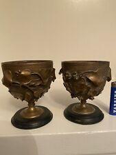 Pair Neoclassical Style Gilt Bronze & Black Slate Tazza Urns Vines Leaves 19th C
