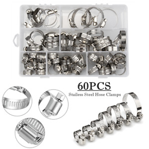 60 Pieces Assortment Adjustable Hose Clamps Worm Gear Stainless Steel Clamp