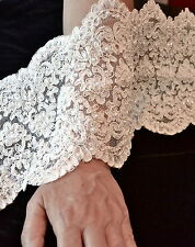 Diamond White Beaded Sequin Corded Bridal Lace Fabric 19cm Wide Lace By The Yard