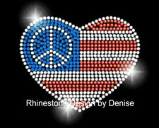 Heart Flag Themed Rhinestone Iron On Transfer 4th of July Bling Applique