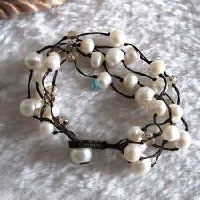 """8"""" 7-10mm White Freshwater Pearl Bracelet Crystal 5Row Bracelet"""
