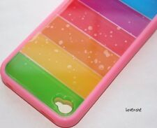 iPhone 4 4G 4S - Hard Gummy Gel Case Cover Pink Rainbow GREEN RED BLUE ORANGE