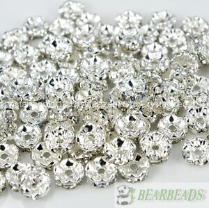 100 Silver Czech Crystal Rhinestone Wavy Rondelle Spacer Beads 4mm 6mm 8mm 10mm