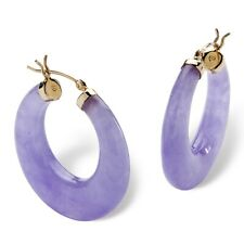 PalmBeach Jewelry Lavender Jade 14k Yellow Gold Hoop Earrings