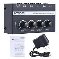 ammoon HA400 4 Channel Audio Stereo Headphone Amplifier G3V2