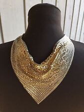 Vintage Gold Tone Mesh Drape Bib Necklace Dog wear Mask no brand