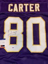 Cris Carter Autographed/Signed Custom Purple Jersey HOF JSA RARE