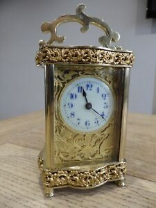 French Carriage Clock Very Rare Case style Two Dragon's Gilt Mask blue Numerals