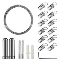 Curtain Drape Wire Rod Set with 12 Clips, Stainless Steel Picture Hanging W Z4K3