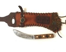 Mountain Man Custom Skinner Knife with Beaded Leather Sheath