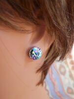 HYPOALLERGENIC Stud Earrings Swarovski Elements Crystal Lavender Vitrail Large