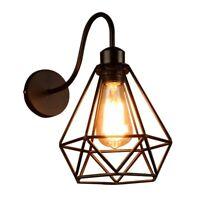2X(Wall Lights Vintage Industrial Black Diamond Cage Metal Ceiling Light Fi9W7)