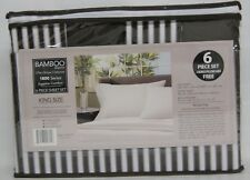 Bamboo Egyptian Comfort Series, 6 Piece Sheet Set King Size, Brown & White
