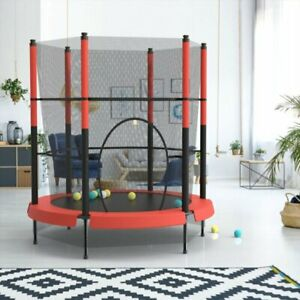 4.5FT Mini Trampoline Set with Enclosure Safety Net Outdoor Indoor Kids Toy Play