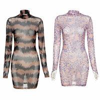 Damen Stehkragen Bodycon Minikleid mit Druck Transparent Partykleid Clubwear