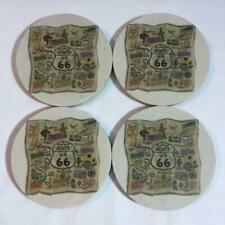 Set of 4 Thirsty Stone Coasters Route 66 Theme