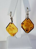 Vintage Faux Amber Resin Diamond Shaped Dangle Earrings Pierced Hooks