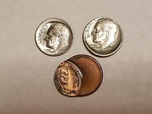 ERROR COINS OFF-CENTER ROOSEVELT DIMES & LINCOLN CENT (E617)