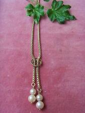 Halskette/Collier 14 Karat Gelbgold mit Perlenanhänger-4 Biwa-Zuchtperlen