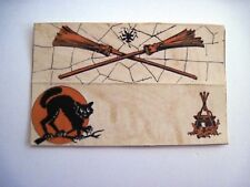 """1937 """"Halloween"""" Place Card w/ Cat, Brooms, Spider and Witches Cauldron *"""