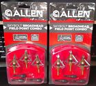 ( 2 ) Allen Skybolt Broadhead Field Point Combo, 100 Grain, Set of 3 ~ New in Pk