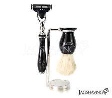 Shaving Mach3 Razor,White Pure Badger Shaving Brush and Stand Set