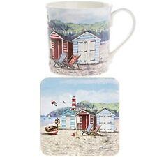 Beach Hut Mug & Coaster Coffee Tea Nautical Fine China Sandy Bay  Gift Box 93305
