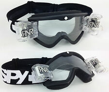 SPY OPTICS TARGA 3 MOTOCROSS MX GOGGLES BLACK with RNR TVS ROLL OFF SYTEM NEW