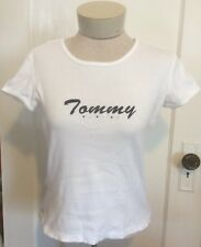 * NEED $ SALE * Tommy Hilfiger White Logo Crew New Cap Sleeve T-Shirt Tee S