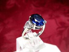 925 STERLING SILVER OVAL SHAPE BLUE TANZANITE & HEART SHAPE CZ RING SIZE 6.25