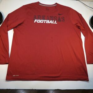 NIKE DRI FIT UNIVERSITY ARKANSAS RAZORBACKS FOOTBALL JERSEY TEE T SHIRT Sz XL