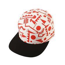 Geometric Summer 5 Panel Snapback Biker Cycle Cadet Cap Hat Adjustable Red Blk