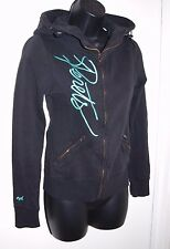Joshua Perets Size XS Black Scuba Hoodie with Teal Writing