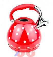 RETRO Whistling Stainless Steel Kettle 3.5Ltr large red white spots spotty GAS