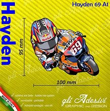 Adesivo Moto Nicky Hayden 69 caricatura stickers carene casco 10 x 9 cm