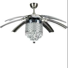 """Modern Invisible Crystal Ceiling Fan Lamp Take Off Chandelier 42"""" Remote Control"""