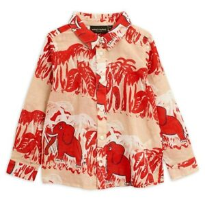 AUTHENTIC Mini Rodini Elephants Woven Shirt - Red - 104/110 - Organic Cotton