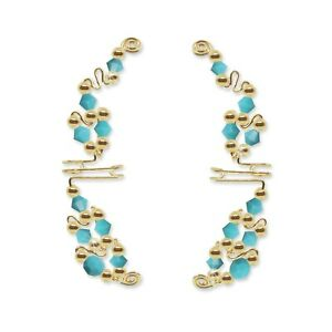 Ear Wraps Cuffs Climbers Crawlers Gold with Swarovski Turquoise Crystals #100