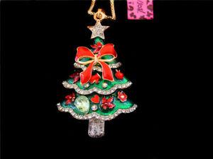 Betsey Johnson Gift Christmas Trees Crystal Enamel Pendant Long Chain Necklace